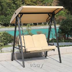 Garden Patio Swing Chair 2 Seater Swinging Hammock Outdoor Cushioned Bench Seat