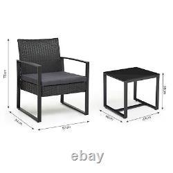 Garden Rattan Furniture Bistro Set 3PC Chair Table Patio Outdoor Wicker Black