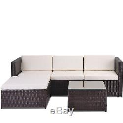 Garden Rattan Furniture Set 5 PCS Patio Outdoor Lounge Sofa Set Coffee Table