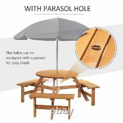 Garden Round Table Chair Benches Wooden 6 Seater Patio Umbrella Hole Outdoor