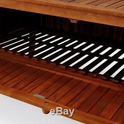 Garden Storage Bench Weather Resistant Hardwood Box Outdoor Patio Chest Trunk