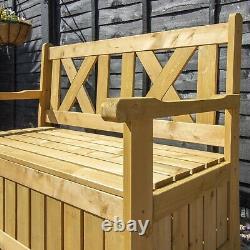 Garden Storage Bench Wooden Patio Seating Box Outdoor Furniture 2 Seater