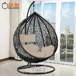 Garden Swing Chair With Cushion Rattan Hanging Egg Chairs Outdoor Indoor Patio