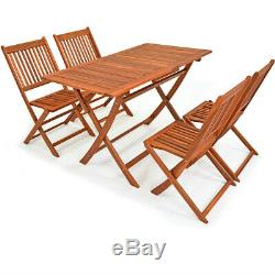 Garden Table Chair Set Wooden Outdoor Patio Furniture 4 Seater Dining 5 Pieces