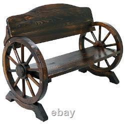 Garden Wooden Bench 2/3 Seat Burnt Wood Solid Cart Wagon Wheel Patio Outdoor
