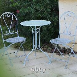 GlamHaus Metal Garden Bistro Set Patio 3 Piece Outdoor Furniture Chairs Table