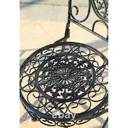 GlamHaus Metal Garden Bistro Set Patio Furniture Outdoor 3 Piece Table Chairs