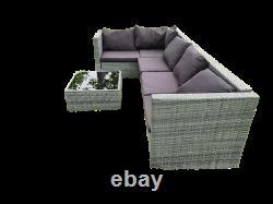 Grey Rattan Corner Sofa Settee Garden Patio Furniture Dining Set Outdoor Wicker