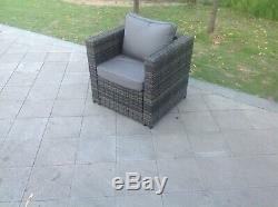 Grey wicker rattan single Chair Sofa patio outdoor garden furniture