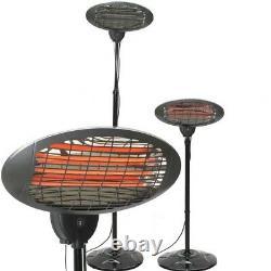 Halogen Quartz Heater 2000W Patio Free Standing Outdoor Garden Electric Adjustab