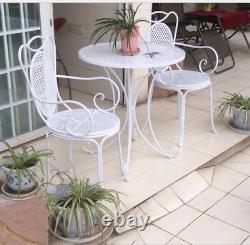 INDOOR OUTDOOR TABLE & CHAIR PATIO SET White Metal Garden Balcony Cafe 3 pcs
