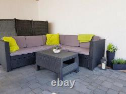 Keter Brand New Rattan Garden Set Corner Sofa Table Outdoor Patio Conservatory