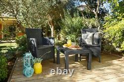 Keter Garden Furniture Set 3 Pieces Chairs Table Cushions Outdoor Patio Balcony