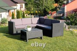 Keter Rattan Garden Set Dark Grey Corner Sofa Table Outdoor Patio Conservatory