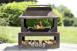 La Hacienda STONEHURST Bronze Steel Garden Fire pit Basket Outdoor Patio Heater