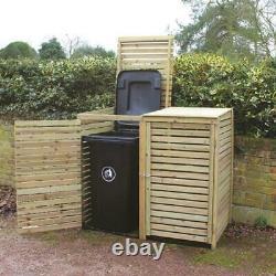 Large Wooden Outdoor Garden Patio Double Wheelie Bin Store Storage