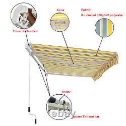 Manual Awning Canopy Outdoor Patio Garden Sun Shade Shelter Top Fabric