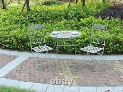 Metal Garden Bistro Set Patio Furniture Outdoor 3 Piece Table Chairs Vintage