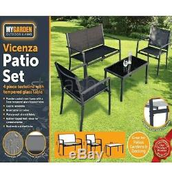 Metal Garden Furniture Set 4 Seat Sofa Chairs Coffee Table Outdoor Patio Balcony