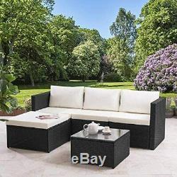 Modern Rattan Garden Furniture Sofa Set Lounger 4 Seater Outdoor Patio Furniture