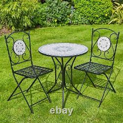 Mosaic Bistro Set Outdoor Patio Garden Furniture Table and 2 Chairs Metal Frame