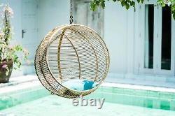 Natural Rattan Hanging Chair Freestanding Egg Swing Outdoor Indoor Patio Garden
