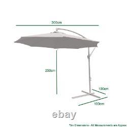 Outdoor 3m Large Cream Parasol Garden Patio Umbrella Canopy Shade Adjustable