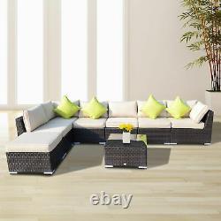 Outdoor 8PCs Garden Rattan Corner Sofa Set Patio Furniture Wicker Outdoor Brown