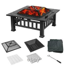Outdoor Fire Pit BBQ Firepit Brazier Garden Square Table Stove Patio Heater UK