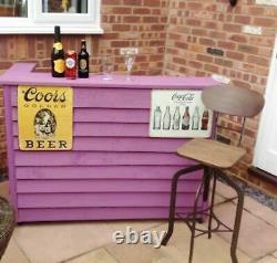 Outdoor Garden Bar Rustic BBQ Beer Drink Table Slatted Wood Patio Decking Stand
