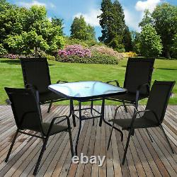 Outdoor Garden Patio Furniture Sets Glass Tables Stacking Chairs Parasol Base