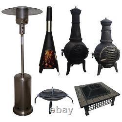 Outdoor Garden Patio Heater Chimnea Fire Pit Open Heat Gas Charcoal Fuel Burners