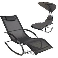 Outdoor Garden Rocking Chair Sun Lounger Grey Seat Recliner Patio Orbital Rocker