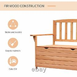 Outdoor Garden Storage Bench Patio Box All Weather Deck Fir Wood Solid Seating
