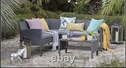 Outdoor Grey Rattan Garden Furniture 5 Seat Corner Sofa & Table Dining Patio Set