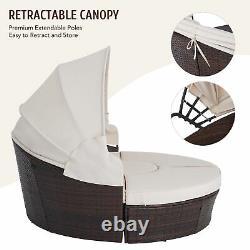 Outdoor Round Sofa Bed Patio Garden Furniture Set Daybed Sun Island Lounge Beige