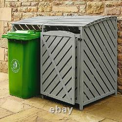 Outdoor Wooden Double Wheelie Rubbish Bin Store Cover Recycling Storage Unit