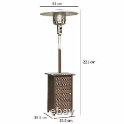 Outsunny 12kw Outdoor Garden Patio Gas Heater Rattan Wicker Free Standing BBQ