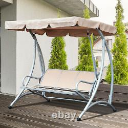 Outsunny Garden Metal Swing Chair Patio Hammock 3 Seater Adjustable Canopy Bench