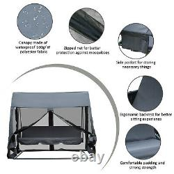 Outsunny Garden Swing Chair Patio Hammock 3 Seater Bench Canopy Lounger Grey