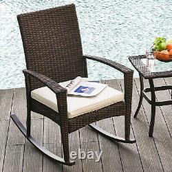 Outsunny Patio Rattan Rocking Chair Bistro Seat Wicker Outdoor Garden with Cushion