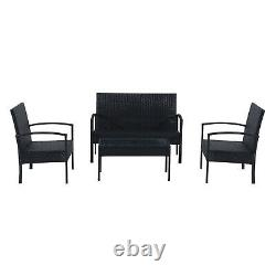 Outsunny Rattan Sofa Set Garden Furniture Outdoor Patio Wicker Weave Chair Table