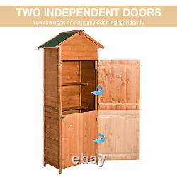 Outsunny Wood Garden Shed Apex Roof Patio Outdoor Timber Tool Kit Storage Shelf