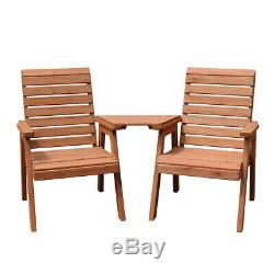 Patio Chair Set Garden 2 Seater Solid Wood Bench Outdoor Twin Chair Furniture