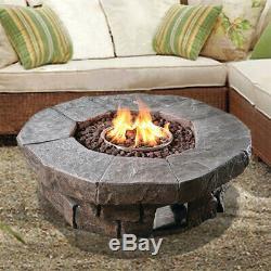 Peaktop Outdoor Garden Patio Round Stone Effect Gas Fire Pit Burner HF11802AA-UK