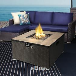 Peaktop Outdoor Garden Patio Square Steel Gas Fire Pit Heater HF31188AA-UK