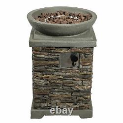 Peaktop Outdoor Garden Patio Square Stone Look 29 Gas Fire Pit HF29308AA-UK