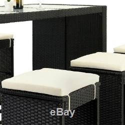 Poly Rattan Bar Set Garden Furniture Table Stools Patio Outdoor Conservatory BBQ