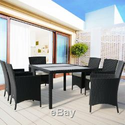 Poly Rattan Garden Dining Furniture Table & Chair Set Outdoor Patio Conservatory