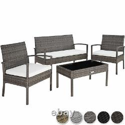 Poly Rattan Garden Furniture 2 Chairs Bench Table Set Outdoor Patio Wicker Grey